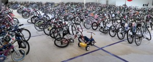 Now that's a thing of beauty--400+ cleaned and repaired bikes set to go to children in need at the Holiday Bike Drive!