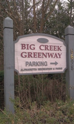 Entrance sign to the Big Creek Greenway in Alpharetta, Georgia.