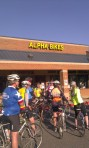 Beginning the Ride to the Capital at Alpha Bikes on March 27, 2014.