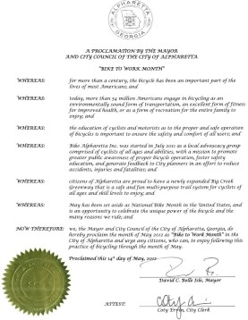 Alpharetta's Mayor proclaims May to officially be Bike to Work Month.