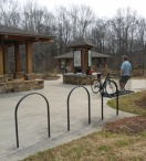 Vistors enjoy the Big Creek Greenway's Rock Mill Park in Spring.